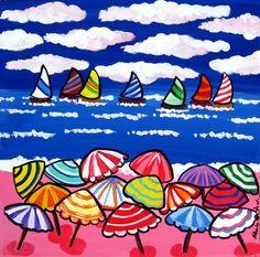 """""""Fun Beach Umbrellas"""" by Renie Britenbucher, NE Ohio // Colorful umbrellas and sailboats in a whimsical beach scene. Umbrella Art, Beach Umbrella, Framed Wall Art, Wall Art Prints, Canvas Prints, Framed Prints, Spring Art, Summer Art, Colorful Umbrellas"""