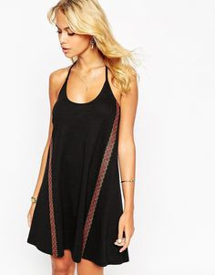 Image 1 ofASOS Swing Dress In Neppy With Embroidered Tape Detail