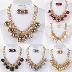Aliexpress.com: Comprar Grandes colgantes de perlas nueva moda collar llamativo cadena para mujeres simularon perla colgantes gargantillas con pendiente fijó 14118 de colgante de madera fiable proveedores en 1982 Jewelry Co.,Ltd