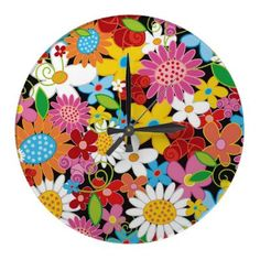 Whimsical Spring Flowers Garden Floral Wall Clock by fat_fa_tin