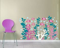 Coral Reef Decals   Coral Wall Decal  Under The Sea Decals   Fish Decals    School Of Fish Decals   Clown Fish Decals Part 48