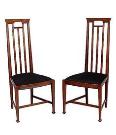 "Joseph Maria Olbrich (1867-1908) - Side Chairs. Mahogany with Upholstered Seats. Vienna, Austria. Circa 1900. 39"" x 17"" x 16""."