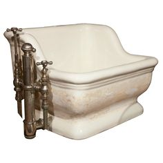 Marvelous Earthenware Sitz Bath With Origninal Hardware
