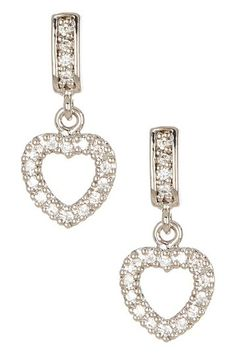 Pave CZ Dangle Heart Earrings by Lafonn on @HauteLook