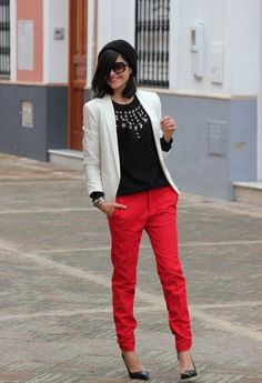 outfit red jeans