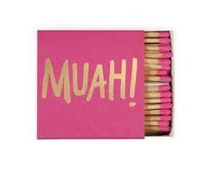"""""""Muah!"""" Printing: Gold Foil Matchbox size: 2.375"""" x 2.375"""", 75 matches tipped in custom coordinating colors Decorative matchboxes"""