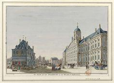De Dam te Amsterdam met het Stadhuis en de Waag, Jan Caspar Philips, 1743