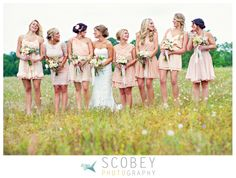 Mismatched Light Pink Bridesmaid Dresses | Planning, Coordination and Design: Simply Charming Socials / Ceremony and Reception Location: Fair Weather Farms / Bride's Dress: Robert Bullock / Bridal Salon: Kelly's Closet / Floral Design: Melanie of lucky + lovely