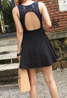 European Style Lace Spliced Sexy Back Cutout Strap Dress