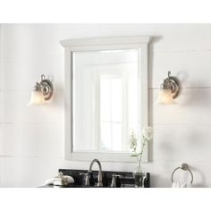 $99-------Cedar Cove 35 in. L x 28 in. W Vanity Wall Mirror in White-28BM0725-O127 at The Home Depot