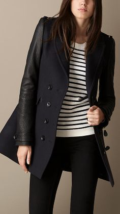 Leather Sleeve Military Coat | Burberry