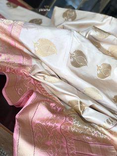 Discover thousands of images about Katan Silk Banarasi - Cream Pink Kadwa woven Blue Silk Saree, Kora Silk Sarees, Pink Saree, Cotton Saree, Dhakai Jamdani Saree, Kanchipuram Saree, Handloom Saree, Banarasi Suit, Benarsi Saree