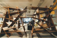 Decorative bookshelves in one of the WeWork NoMad lounges.