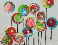 So why not do some circles with some of my Gelli Prints??? -- Altered Pages Heres a simple little card I made using 4 different circle punches, a black pen & some previously made Gelli prints!
