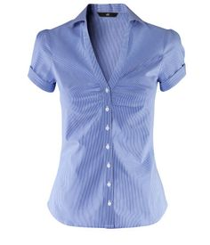 Figure-fit blouse in stretch fabric with gathers at the bust. Machine wash at Business Attire, Business Casual, Smart Outfit, Short Tops, Work Fashion, Blue Tops, Shirt Blouses, Blouses For Women, Colorful Shirts