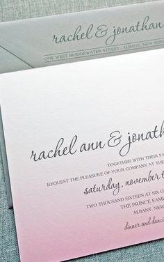 Ombre pink wedding invitation