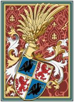 Personal Coat of arms – note the raven depicted on the escutcheon, the origin of the name Corvinus. Matthias Corvinus, Order Of The Dragon, Family Shield, Raven King, Late Middle Ages, Royal Blood, Richard Iii, Family Crest, Crests
