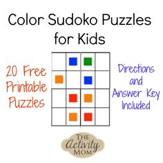 Free, printable Color Sudoku Puzzles to stretch critical thinking and problem solving skills. Manipulate blocks to solve Directions and Answers included. Math Activities For Kids, Free Games For Kids, Fun Math Games, Printable Activities For Kids, Math For Kids, Puzzles For Kids, Busy Kids, 4 Kids, Sudoku Puzzles