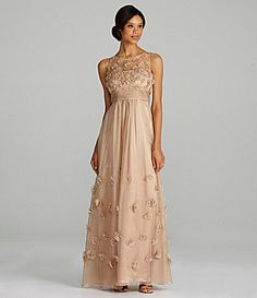 96251e0693b JS Collections Sleeveless Chiffon Rosette Gown  Dillards Rehearsal  Dinner    Vintage Style Wedding