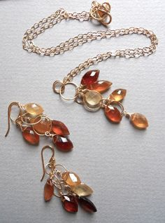 SET Falling Leaves Hessonite Garnet Necklace AND earrings https://www.etsy.com/listing/106849105/set-falling-leaves-hessonite-garnet
