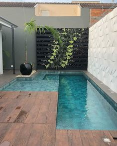 Small Swimming Pools, Small Pools, Swimming Pools Backyard, Swimming Pool Designs, Small Inground Pool, Pool Decks, Pool Landscaping, Small Backyard Patio, Backyard Pool Designs