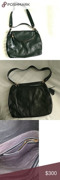 Onna Ehrlich Black Leather Rachel Hobo Purse This beautiful black leather purse is brand new with tags. Fold-over zip opening. One short and one long handle. Fringe accessory. 17 and 1/2 in  long, 12 in deep. Onna Ehrlich Bags Hobos