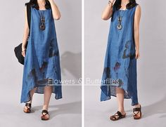 Women Loose Cotton Linen Dress Chinese Style Sleeveless Fashion Dress Elegant in Clothing, Shoes & Accessories, Women's Clothing, Dresses Summer Dresses 2017, Plus Size Summer Dresses, Casual Summer Dresses, Dresses Elegant, Chinese, Linen Dresses, Boho Dress, Ideias Fashion, Fashion Dresses