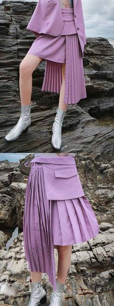 655b33a81e Purple High Waist Pleated Detail Asymmetric Hem Women Skirt Latest Fashion  For Women, High Waist