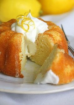 Lemon yogurt bundt cake with limoncello glaze