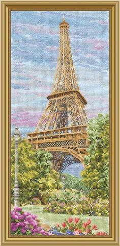 The Eiffel Tower, Faraway Places, counted cross-stitch