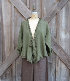 linen jacket flirty in dark olive green with by linenclothing, $135.00