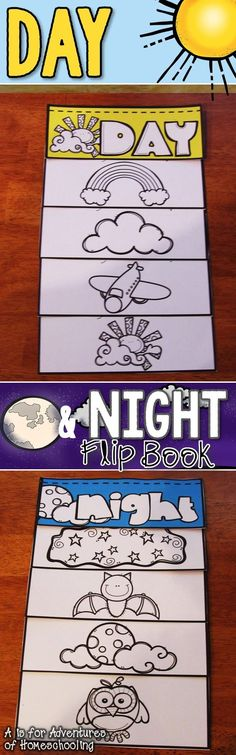 Day and Night sky flip booklet includes 4 versions of the day and night booklets.  The Day flip booklet features four daytime sky objects: the sun, clouds, airplanes, and rainbows. The Night flip booklet features four nighttime sky objects: the moon, star