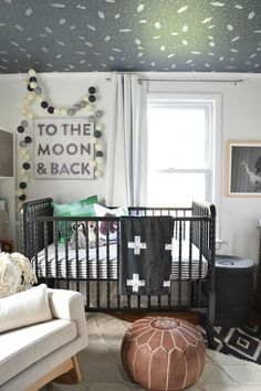 Eclectic Boy Nursery with modern rocket ship/space wallpaper on the ceiling. Does it get any cooler than this?! - Project Nursery