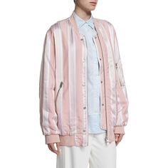 Acne Studios Oversize Striped Bomber Jacket (20.455 CZK) ❤ liked on Polyvore featuring outerwear, jackets, pink multi, acne studios, woven jacket, bomber style jacket, pink straight jacket and oversized bomber jacket