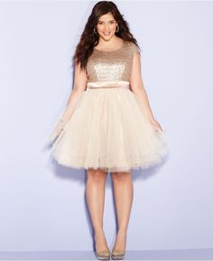 Trixxi Plus Size Dress, Cap-Sleeve Sequin Tulle A-Line - Junior Plus Sizes - Plus Sizes - Macys