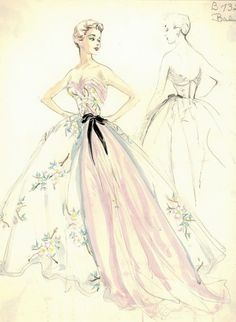 Fashion Sketch by Balmain, ca. 1950s.
