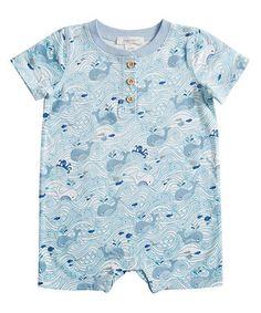 Blue & White Sea Life Romper - Infant
