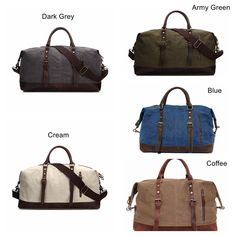Image of Handmade Waxed Canvas Leather Travel Bag Duffle Bag Holdall  Luggage Weekender Bag 12031 Canvas 9fae57fb41e35