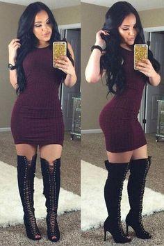 Round Neck Solid Color Bodycon Dress