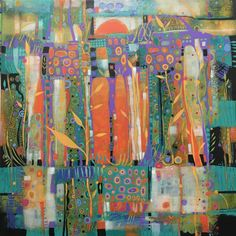 New 24 x24 abstract acrylic painting by Sue Davis