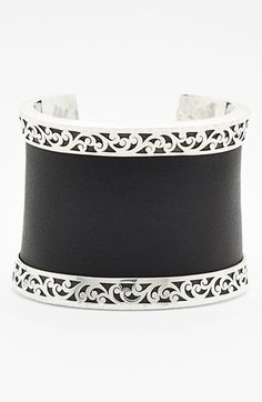 Lois Hill Large Leather & Sterling Silver Cuff, $498