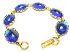 Vintage Bracelets  Vintage Dark Blue Glass by SwankyJewels on Etsy