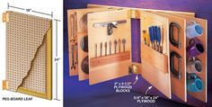 Flip-Through Storage Rack - Unless you live in an art gallery, wall space is always at a premium. Build this book-like storage rack, and expand your wall space exponentially. Grabbing a tool is as easy as flipping through a magazine.Mount two parallel 2x4s on the wall spaced 24 in. apart. Cut the leaves from 3/4-in. plywood and hang them from the 2x4s with 3-in. door hinges. Fur out the hinges with 3/4-in. plywood blocks so the pages can pivot without binding. Mount the leaves at least 4…