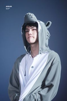 Sehun in a wolf onesie Ha. Ha. Wolf onesie. Wolf. Wolf by EXO. I wonder if this was meant to be a song reference