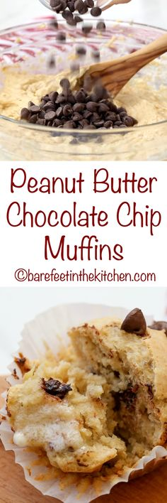 Peanut Butter Chocolate Chip Muffins are a kid favorite! get the recipe at barefeetinthekitchen.com