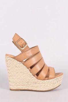 c7b7bb7fecec Bamboo Strappy Slingback Espadrille Wedge Wedge Shoes