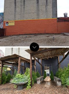 Cabanas for private seatings - antique fountains as planters Before & After: South Street Philadelphia Pop-Up Garden | Design*Sponge