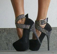 Black & Silvery-Sparkly Buckle High Heel Shoes
