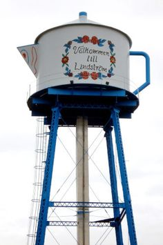 """Lindstrom, MN was founded in the 1850's by Swedish settlers. The water tower is in the shape of a Swedish coffee pot in their honor with the words on it translated to """"Welcome to Lindstrom."""""""