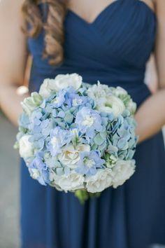 Blue Wedding Flowers - Dallas Wedding from Caroline Joy Photography Hydrangea Boutonniere, Blue Hydrangea Wedding, Hydrangea Bridal Bouquet, Bridal Flowers, Flower Bouquet Wedding, Floral Wedding, Wedding Colors, Summer Wedding Bouquets, Bride Bouquets